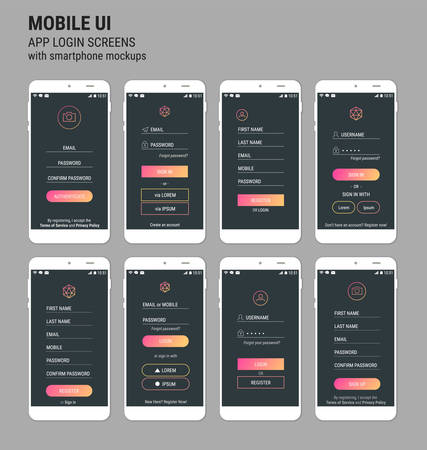 Modne responsywne szablony mobilnego interfejsu użytkownika szablonu aplikacji mobilnej logowania i rejestracji z makietami smartfonów Logo