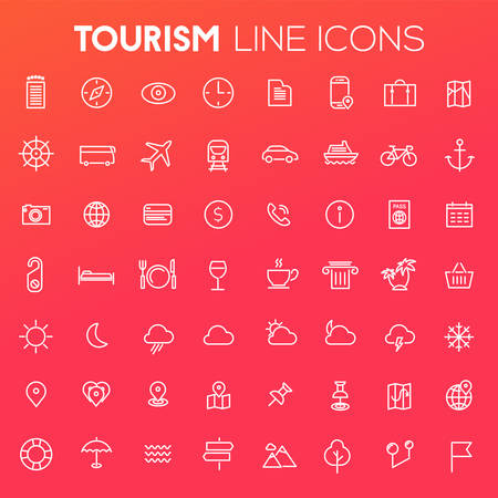 Trendy big tourism and travel icons collection Фото со стока - 126779182