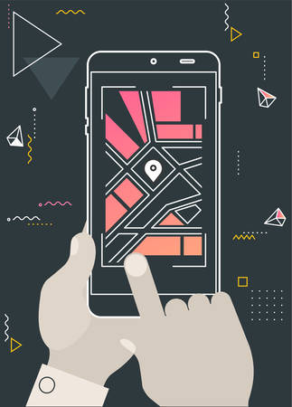 Augmented reality mobile app concept, for travelling navigation and outdoor activity, mobile geolocation and augmented reality concept