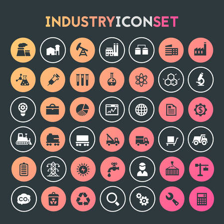 Trendy flat design big Industry icons set on round buttons Фото со стока - 126365146