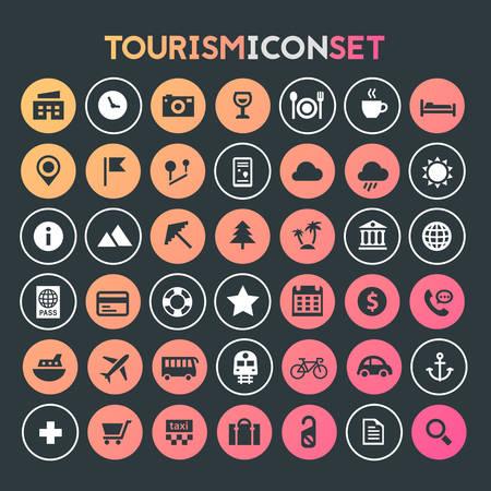 Trendy big tourism and travel icons collection Фото со стока - 126365148