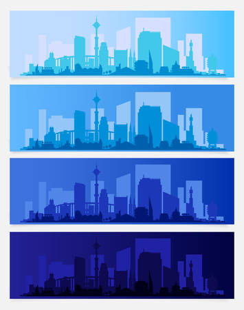 Cityscape sets with various parts of a city. Small towns or suburbs and downtown silhouettes Фото со стока - 126365152