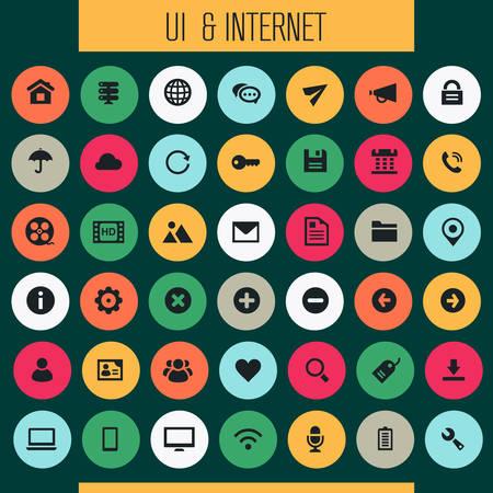 Trendy flat design big UI and Internet icons set Фото со стока - 126090324