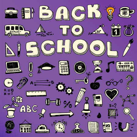 Back to School Concept Banner, trendy doodle collection