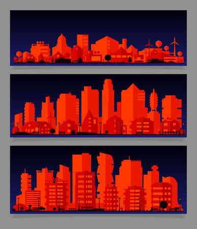 Cityscape sets with various parts of a city. Small towns or suburbs and downtown silhouettes Фото со стока - 126090326