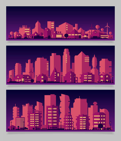 Cityscape sets with various parts of a city. Small towns or suburbs and downtown silhouettes Фото со стока - 126090327