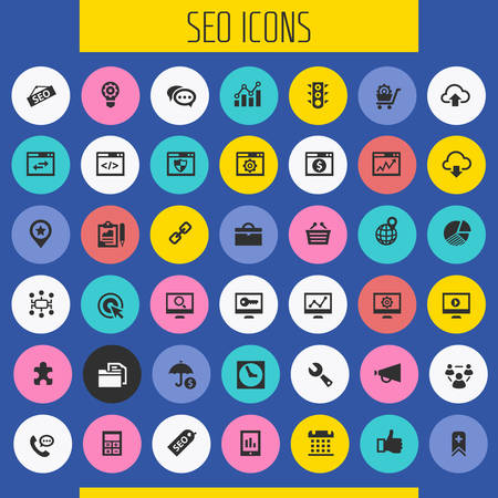 Trendy flat design big SEO icons set Фото со стока - 125654383