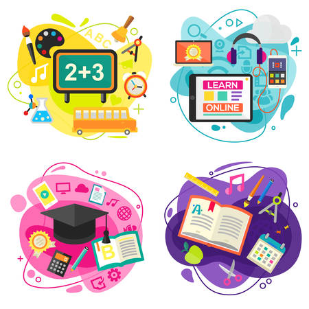 Education and Online Learning Concept Banners. Vector Illustration