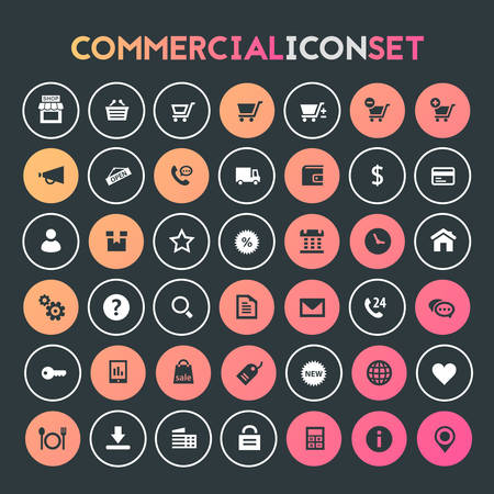 Trendy flat design big commercial icons set Фото со стока - 125654384