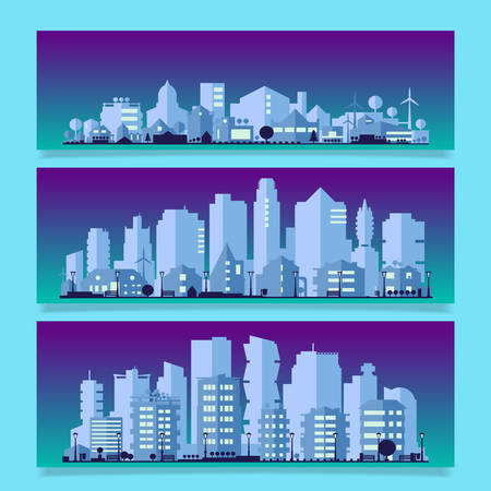 Vector horizontal banners with industrial part of city. Factories, refineries and power plants Çizim