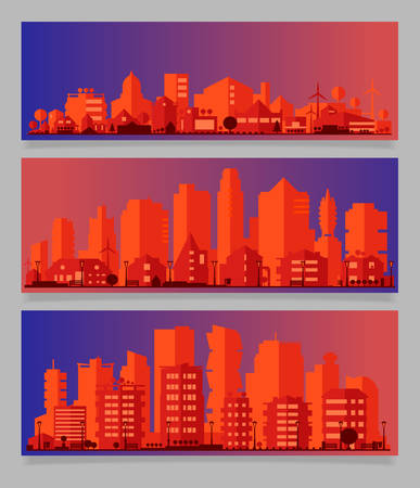 Vector horizontal banners with industrial part of city. Factories, refineries and power plants 向量圖像
