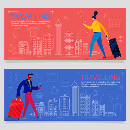 Traveling concept banner with characters. Tourism and Vacancies Çizim