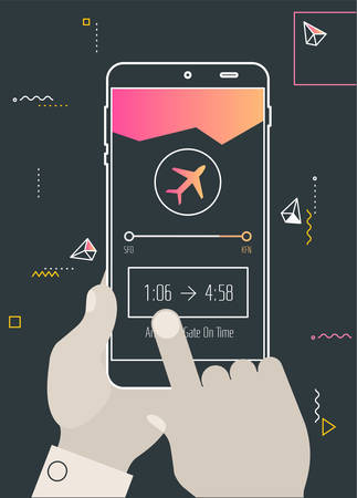Augmented reality navigation and travel mobile app concept Illustration