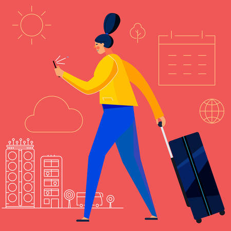 Traveling concept banner with characters. Tourism and Vacancies. Traveling Alone Çizim