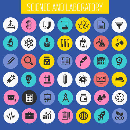 Trendy flat design Science and Laboratory icons collection Çizim