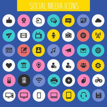 Big Social Media icon set, trendy flat icons collection Ilustração