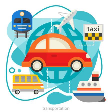 Traveling and Tourism Concept - Transport. Flat style vector illustration online web banner Çizim