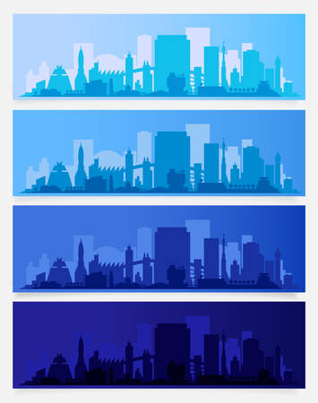 Vector horizontal city banners. Morning, afternoon evening and night