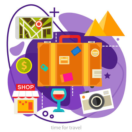 Sightseeing and Shopping Concept. Trendy ameoba illustration Archivio Fotografico - 124893583