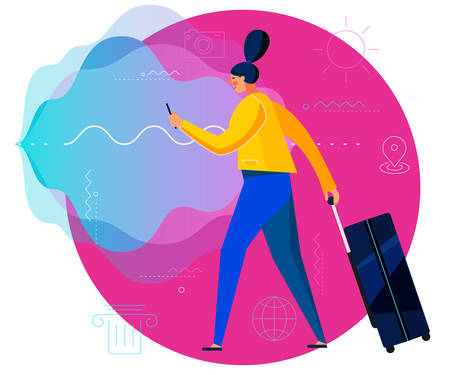 Traveling with voice assistant Concept Banner. Trendy Character Design Illustration Ilustrace
