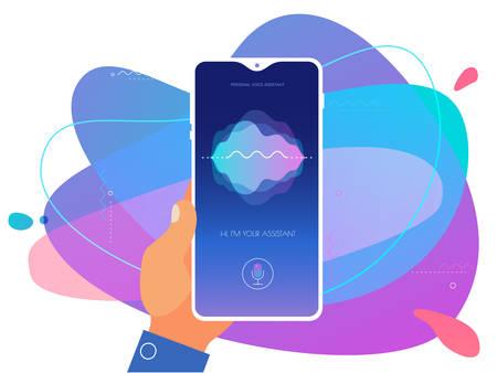 Mobile App UI Personal Voice Assistant Concept Reklamní fotografie - 124893620