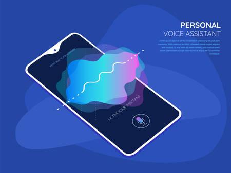Mobile App UI Personal Voice Assistant 3d mockup Reklamní fotografie - 124893621