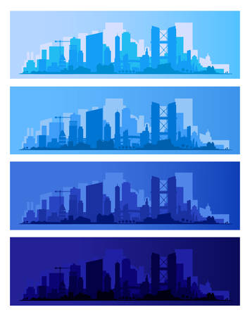Trendy city skyline colored sets in different time of the day. Vector illustration  イラスト・ベクター素材