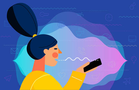 Concept banner with woman using voice assistant mobile app. At home and work, everywhere