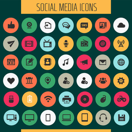 Big Social Media icon set, trendy flat icons collection Banque d'images - 124893628