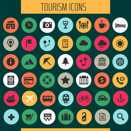 Trendy big tourism and travel icons collection Ilustrace