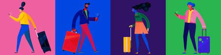 Viajeros con equipaje, hombre y mujer, en varias poses. Viajar solo concepto. Ilustración de vector de estilo plano simple de moda Ilustración de vector
