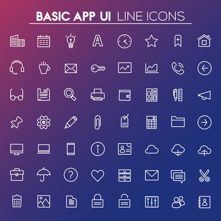 Big Basic App UI, UX and Office linear icon set Banque d'images - 124893661