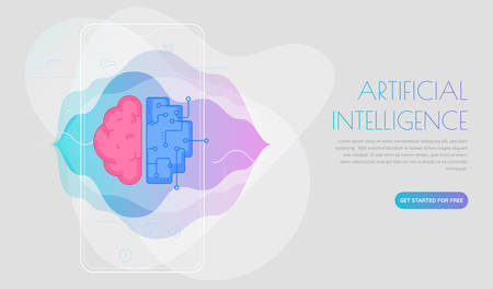 Artificial intelligence concept. Trendy linear vector illustration Çizim