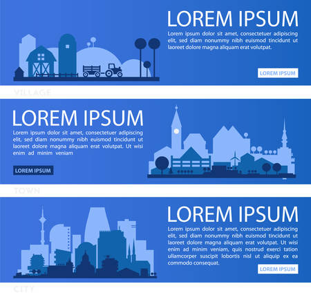 Abstract stylish cityscape infographics with various city diistricts