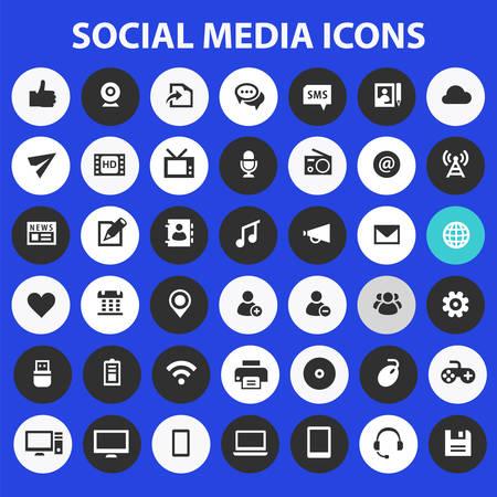 Big Social Media icon set, trendy flat icons collection Çizim