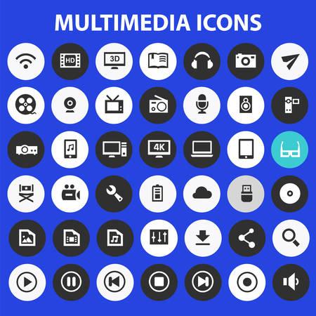 Big Multimedia icon set, trendy flat icons collection Çizim