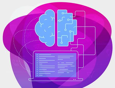 Artificial intelligence concept. Trendy linear vector illustration Illustration