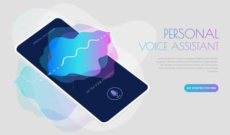 Mobile App UI Personal Voice Assistant 3d mockup Ilustrace