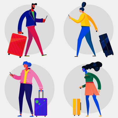 Character design flat trendy illustration, persons in various poses Çizim