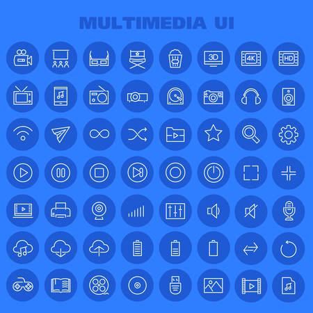 Big Multimedia icon set, trendy linear icons