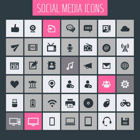 Big Social Media icon set, trendy flat icons collection Ilustracja