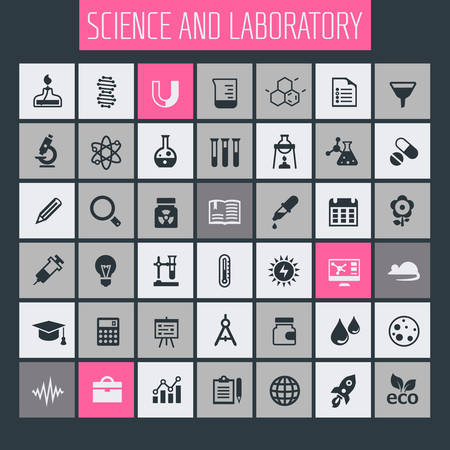 Trendy flat design Science and Laboratory icons collection  イラスト・ベクター素材