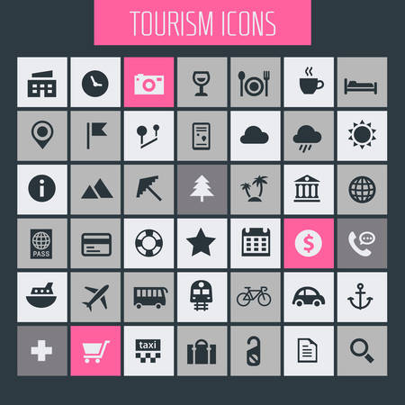 Big tourism icon set, trendy flat icons collection Ilustracja