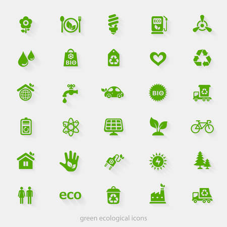 Trendy ecological and natural green icons collection Ilustracja