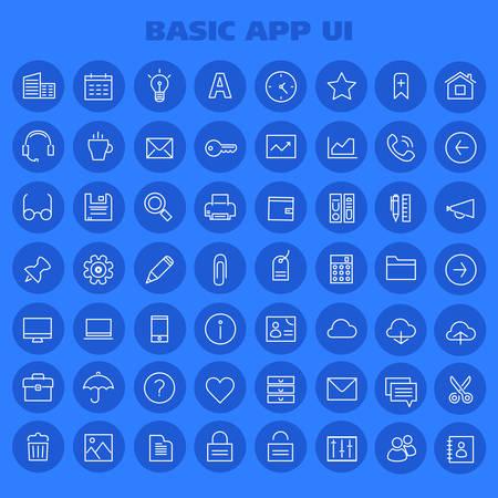 Big Basic App UI, UX and Office linear icon set 일러스트
