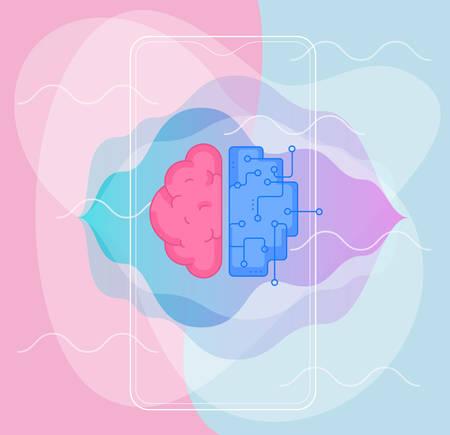 Artificial intelligence concept. Trendy linear vector illustration Иллюстрация