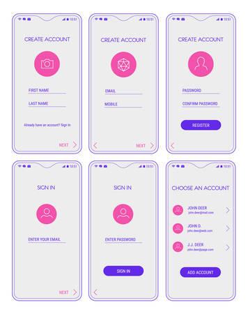 Trendige reaktionsschnelle mobile UI-Vorlagen für die Anmeldung und Registrierung mobiler App-Vorlagen mit Smartphone-Modellen Vektorgrafik