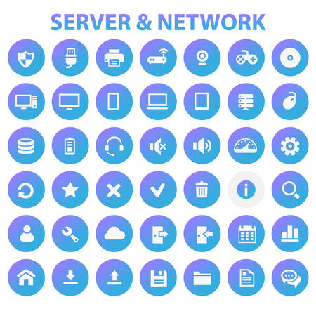 Big Server Networks icon set, trendy line icons collection  イラスト・ベクター素材