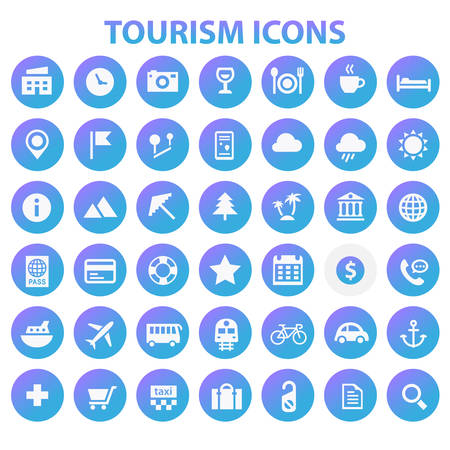 Grande set di icone del turismo, collezione di icone alla moda