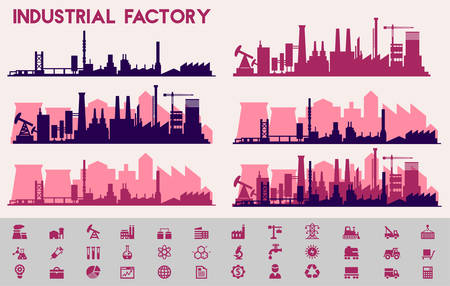 City Skyline Industrial Sets, City Districts Banners